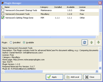 Screenshot of Plugin Manager