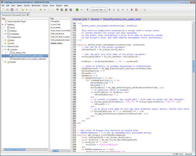 Screenshot of a NoteCase Pro window with embedded scripts