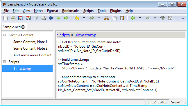 Screenshot of a NoteCase Pro document with embedded timestamp script