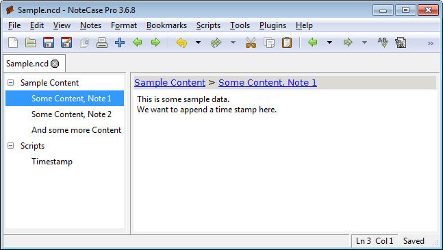Screenshot of the embedded scripts document with selected data note