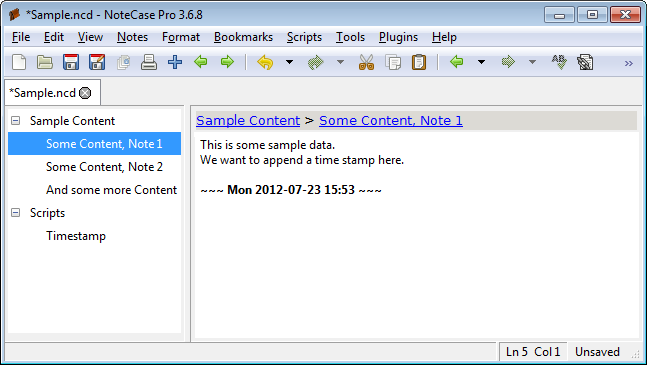 Screenshot of the timestamp being appended to the data note