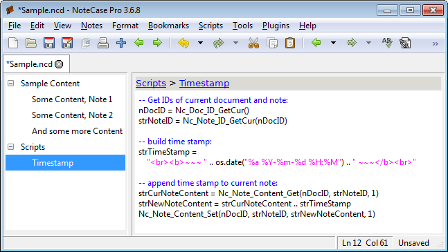 Screenshot of the Timestamp script with syntax highlighting
