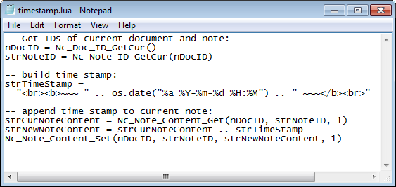 Screenshot of notepad with timestamp.lua script