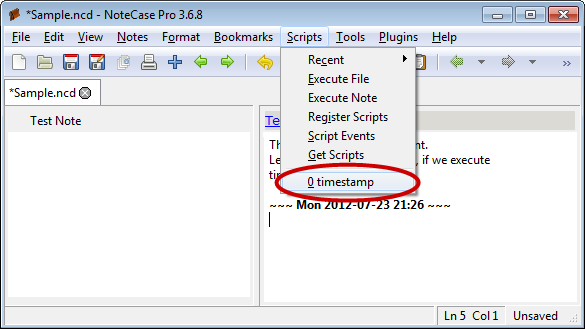 Screenshot of script menu with registered script