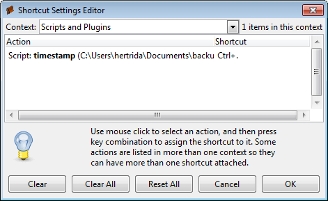Screenshot of shortcuts dialog
